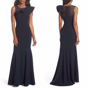 ELIZA J Asymmetric RUFFLED Illusion MESH NECK Gown